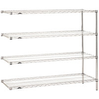 Metro AN566C Super Erecta Adjustable Chrome Wire Stationary Add-On Shelving Unit - 24 inch x 60 inch x 63 inch