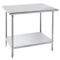 Advance Tabco SLAG-365-X Stainless Steel Work Table with Stainless Steel Undershelf - 36 inch x 60 inch