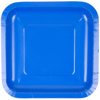 Creative Converting 453147 7 inch Cobalt Blue Square Paper Plate - 18/Pack