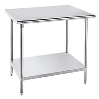 Advance Tabco MSLAG-364-X Stainless Steel Work Table with Undershelf - 36 inch x 48 inch