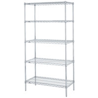 Metro 5N327BR Super Erecta Brite Adjustable Wire Stationary Starter Shelving Unit - 18 inch x 30 inch x 74 inch