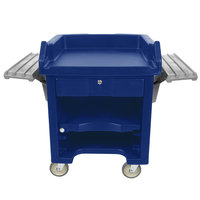 Cambro VCSWR186 Navy Blue Versa Cart with Dual Tray Rails and Standard Casters