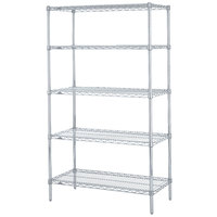 Metro 5N347BR Super Erecta Brite Adjustable Wire Stationary Starter Shelving Unit - 18 inch x 42 inch x 74 inch