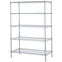 Metro 5N367BR Super Erecta Brite Adjustable Wire Stationary Starter Shelving Unit - 18 inch x 60 inch x 74 inch