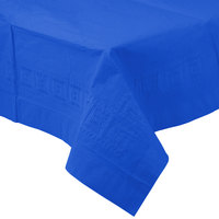 Creative Converting 713147B 54 inch x 108 inch Cobalt Blue Tissue / Poly Table Cover