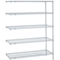 Metro 5AN447BR Super Erecta Brite Adjustable Wire Stationary Add-On Shelving Unit - 21 inch x 42 inch x 74 inch
