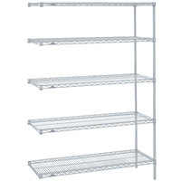 Metro 5AN427BR Super Erecta Brite Adjustable Wire Stationary Add-On Shelving Unit - 21 inch x 30 inch x 74 inch
