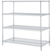 Metro N556BR Super Erecta Brite Adjustable Wire Stationary Starter Shelving Unit - 24 inch x 48 inch x 63 inch