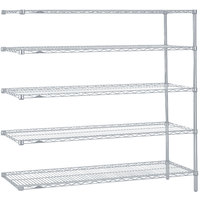Metro 5AN377BR Super Erecta Brite Adjustable Wire Stationary Add-On Shelving Unit - 18 inch x 72 inch x 74 inch
