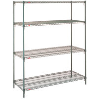 Metro 5AN517K3 Super Erecta Metroseal 3 Adjustable Wire Stationary Add-On Shelving Unit - 24 inch x 24 inch x 74 inch