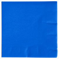 Creative Converting 573147B Cobalt Blue 3-Ply Beverage Napkin - 50/Pack