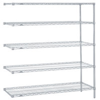 Metro 5AN567BR Super Erecta Brite Adjustable Wire Stationary Add-On Shelving Unit - 24 inch x 60 inch x 74 inch
