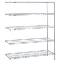Metro 5AN357BR Super Erecta Brite Adjustable Wire Stationary Add-On Shelving Unit - 18 inch x 48 inch x 74 inch