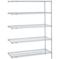 Metro 5AN437BR Super Erecta Brite Adjustable Wire Stationary Add-On Shelving Unit - 21 inch x 36 inch x 74 inch