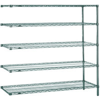 Metro 5AN477K3 Super Erecta Metroseal 3 Adjustable Wire Stationary Add-On Shelving Unit - 21 inch x 72 inch x 74 inch
