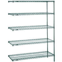 Metro 5AN537K3 Super Erecta Metroseal 3 Adjustable Wire Stationary Add-On Shelving Unit - 24 inch x 36 inch x 74 inch