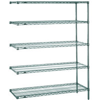 Metro 5AN447K3 Super Erecta Metroseal 3 Adjustable Wire Stationary Add-On Shelving Unit - 21 inch x 42 inch x 74 inch