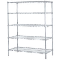Metro 5N577BR Super Erecta Brite Adjustable Wire Stationary Starter Shelving Unit - 24 inch x 72 inch x 74 inch