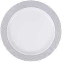 """Silver Visions 6"""" White Plastic Plate with Silver Lattice Design - 150/Case"""