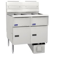 Pitco SG14RS-2FD-SS Solstice Liquid Propane 80-100 lb. 2 UnitFloor Fryer System with Solid State Thermostatic Controls and Filter Drawer - 244,000 BTU
