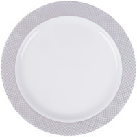 """Silver Visions 6"""" White Plastic Plate with Silver Lattice Design - 15/Pack"""