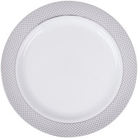 Silver Visions 10 inch White Plastic Plate with Silver Lattice Design - 120/Case  sc 1 st  WebstaurantStore & Silver Visions 10\