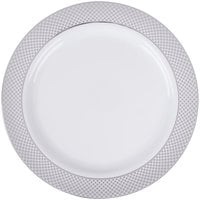 Silver Visions 10 inch White Plastic Plate with Silver Lattice Design - 120/Case  sc 1 st  WebstaurantStore & Silver Visions 10