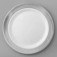 Silver Visions 9 inch White Plastic Plate with Silver Lattice Design - 120/Case