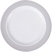 """Silver Visions 9"""" White Plastic Plate with Silver Lattice Design - 120/Case"""
