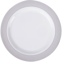 """Silver Visions 9"""" White Plastic Plate with Silver Lattice Design - 12/Pack"""