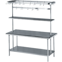 Advance Tabco MS-305-PRSC Stainless Steel Work Table with Undershelf, Overshelf, and Pot Rack - 30 inch x 60 inch