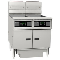 Pitco SG14RS-2FD-D Natural Gas 80-100 lb. 2 Unit Floor Fryer System with Digital Controls and Filter Drawer - 244,000 BTU
