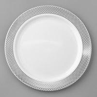 Silver Visions 7 inch White Plastic Plate with Silver Lattice Design - 150/Case