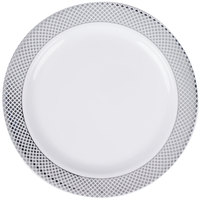 "Silver Visions 7"" White Plastic Plate with Silver Lattice Design - 15/Pack"