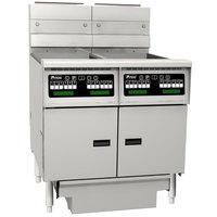 Pitco SG14RS-2FD-C Solstice Natural Gas 80-100 lb. 2 Unit Floor Fryer System with Intellifry Computer Controls and Filter Drawer - 244,000 BTU