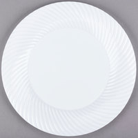 Visions Wave 9 inch White Plastic Plate - 18/Pack