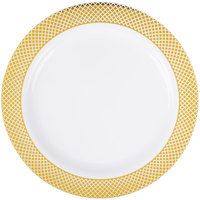 """Silver Visions 9"""" White Plastic Plate with Gold Lattice Design - 12/Pack"""