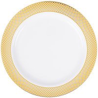 "Silver Visions 10"" White Plastic Plate with Gold Lattice Design - 12/Pack"