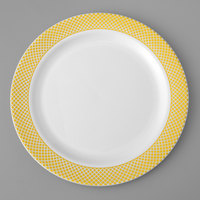 Gold Visions 7 inch White Plastic Plate with Gold Lattice Design   - 150/Case
