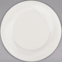 Visions Wave 9 inch Bone / Ivory Plastic Plate - 18/Pack