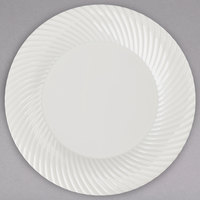 Visions Wave 6 inch Bone / Ivory Plastic Plate - 18/Pack
