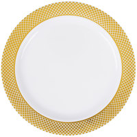 """Silver Visions 6"""" White Plastic Plate with Gold Lattice Design - 15/Pack"""