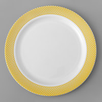 Silver Visions 6 inch White Plastic Plate with Gold Lattice Design - 150/Case
