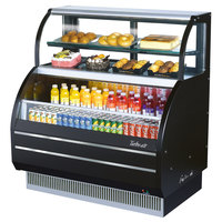Turbo Air TOM-W-40SB 39 inch Black Slim Line Dual Service Refrigerated Open Display Merchandiser