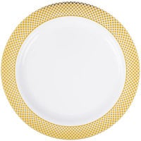 Silver Visions 9 inch White Plastic Plate with Gold Lattice Design - 120/Case