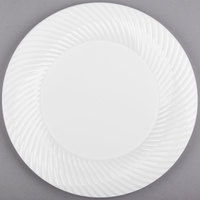 Visions Wave 10 inch White Plastic Plate - 18/Pack