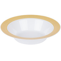 Silver Visions 12 oz. White Bowl with Gold Lattice Design - 15/Pack