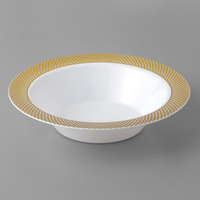 Gold Visions 12 oz. White Bowl with Gold Lattice Design - 15/Pack