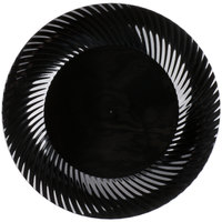 Visions Wave 10 inch Black Plastic Plate - 18/Pack