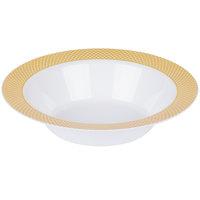 Silver Visions 12 oz. White Bowl with Gold Lattice Design - 150/Case